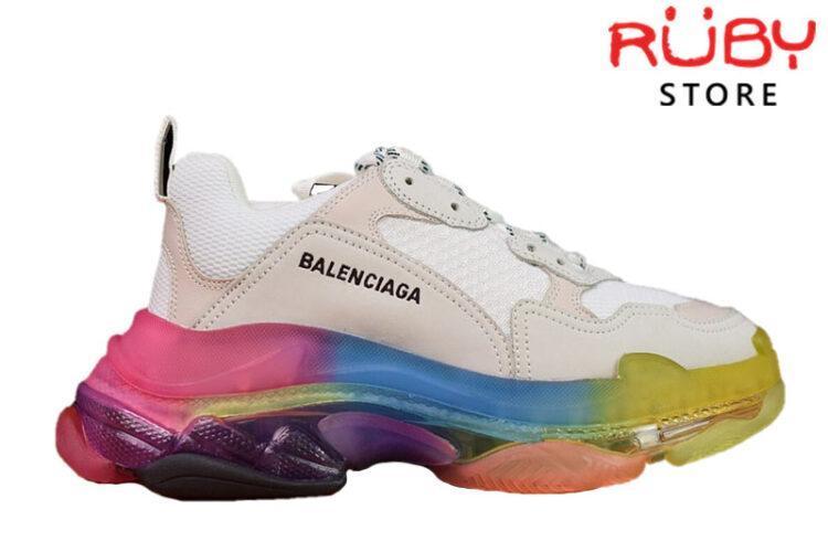 Giày Balenciaga Triple S đế 7 màu - Clear Sole Rainbow (Bản Best)