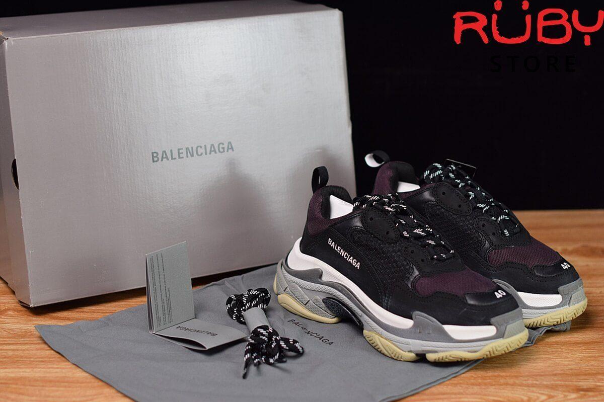 giày balenciaga triple s like real 99,9% đen tím