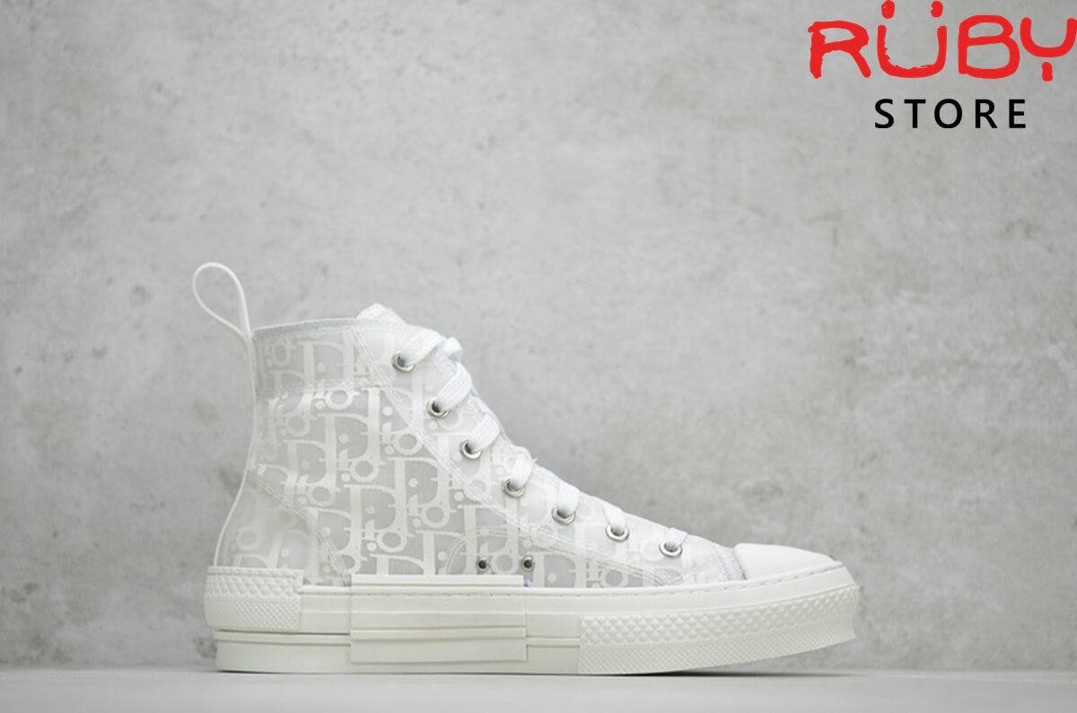 giày dior b23 high top sneaker in dior oblique trắng full