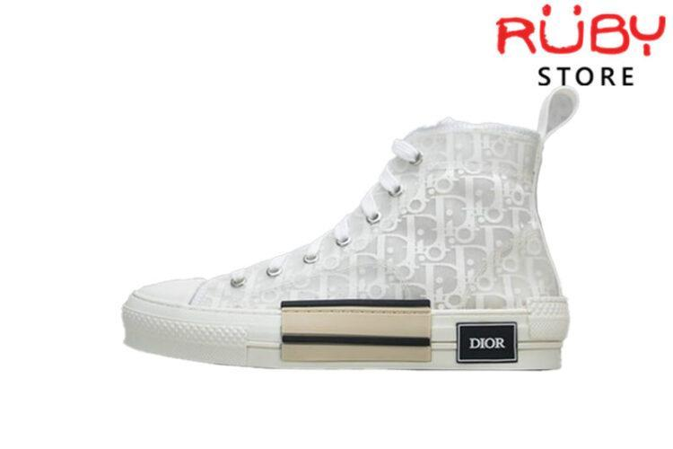 Giày Dior B23 High Top Sneaker In Dior Oblique Replica 1:1 Trắng Full
