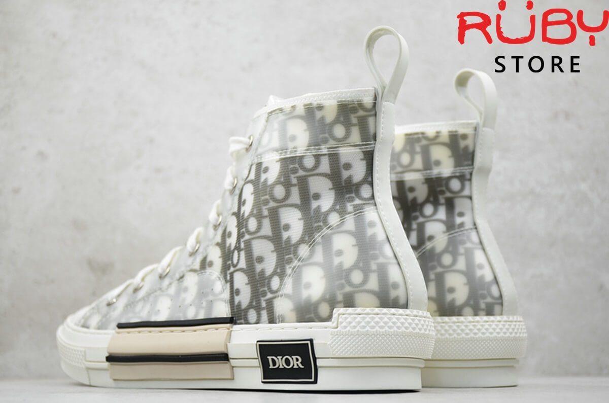 giày b23 high top sneaker in dior oblique trắng ngà