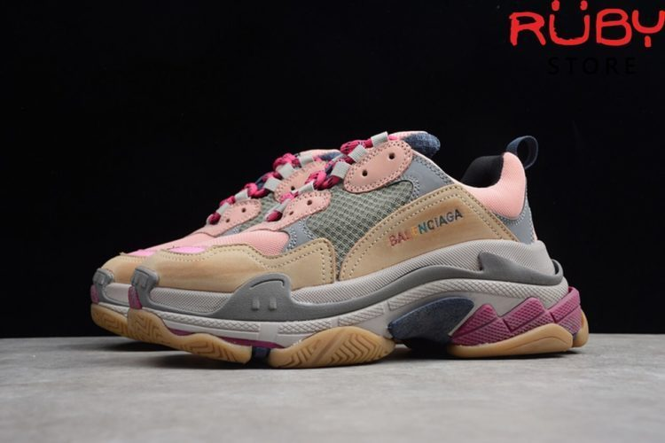 giày balenciaga triple s pink brown replica 1:1