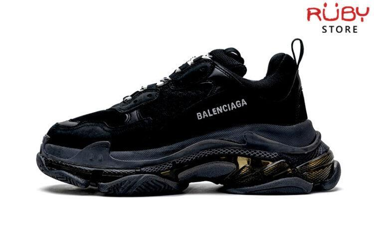 Giày Balenciaga Triple S Clear Sole đen full replica 11