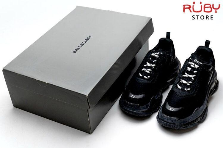 Giày Balenciaga Triple S Clear Sole đen full replica 11