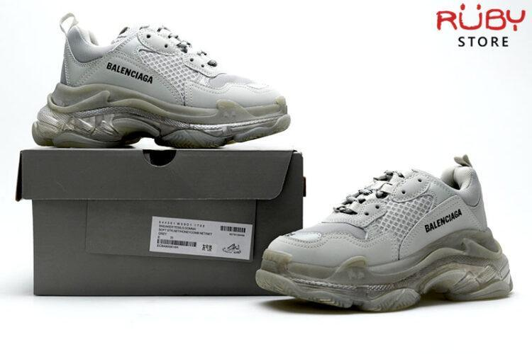 giày balenciaga triple s clear sole grey replica 1:1