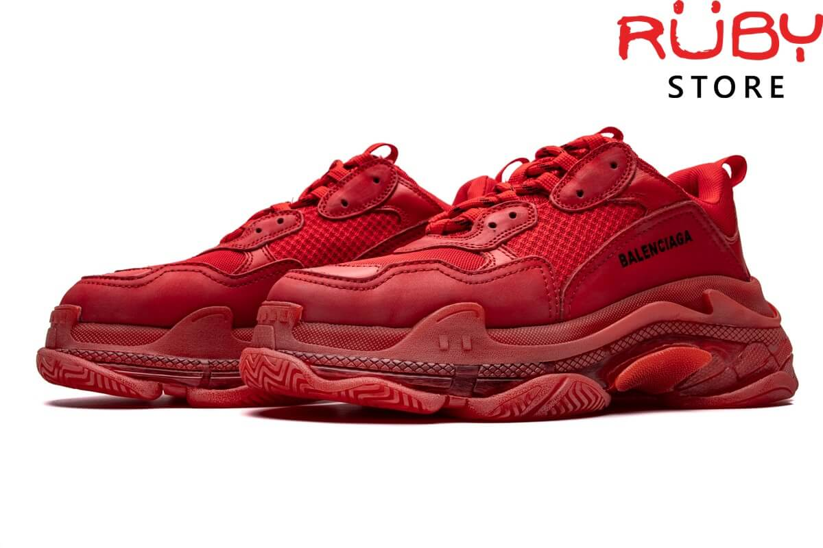 giày balenciaga triple s clear sole red replica 1:1 ở hcm
