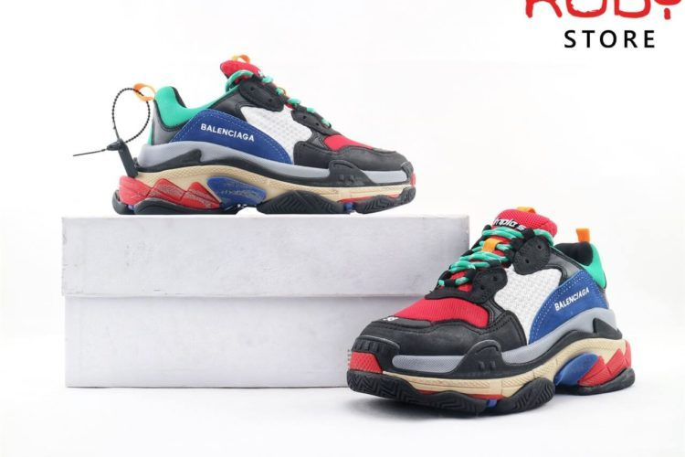 giày balenciaga triple s replica 1:1 black blue red ở hcm