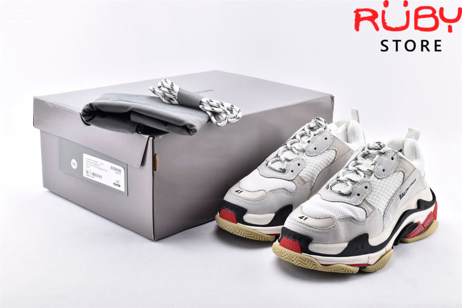 giày balenciaga triple s white red replica 1:1 like real 99%