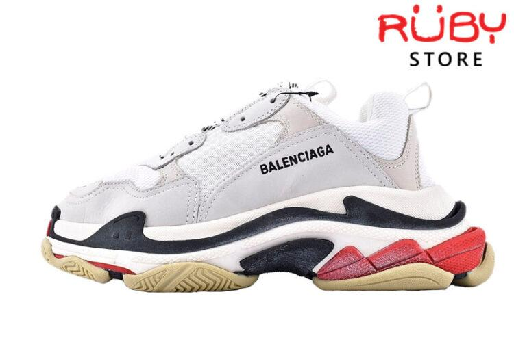 giày balenciaga triple s white red replica 1:1 like real 99%giày balenciaga triple s white red replica 1:1 like real 99%