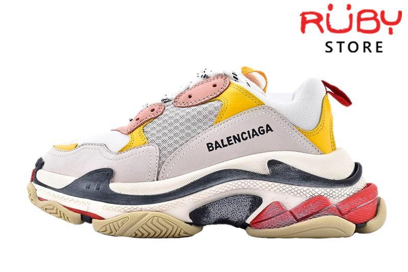 giay balenciaga triple s white yellow pink replica 1:1 like real 99%