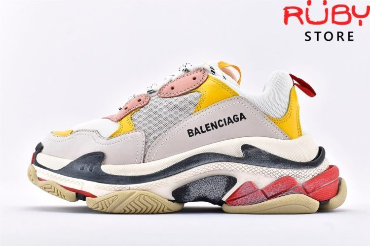 giay balenciaga triple s white yellow pink replica 1:1 like real 99%