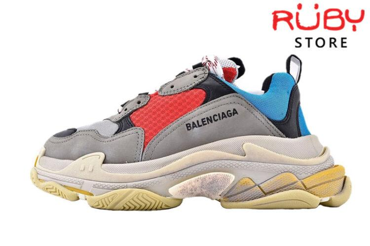 Giày Balenciaga Triple S Blue Red Replica 1:1 Like Real 99,9% (Bản Best)