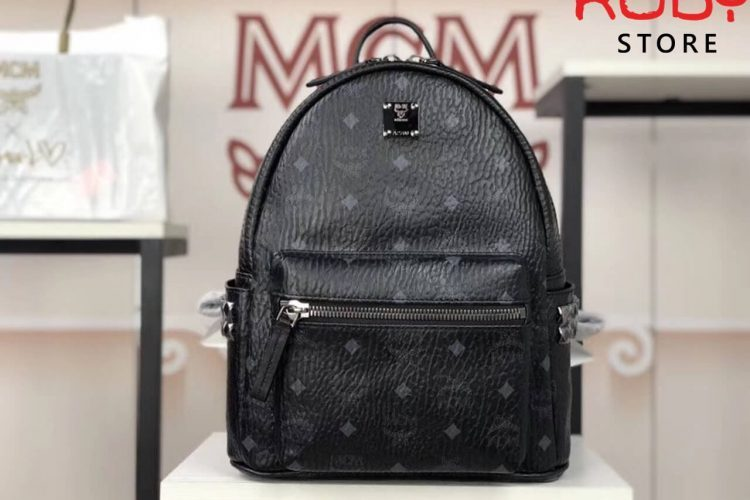 ba lô mcm stark side studs backpack in visetos black ở hcm