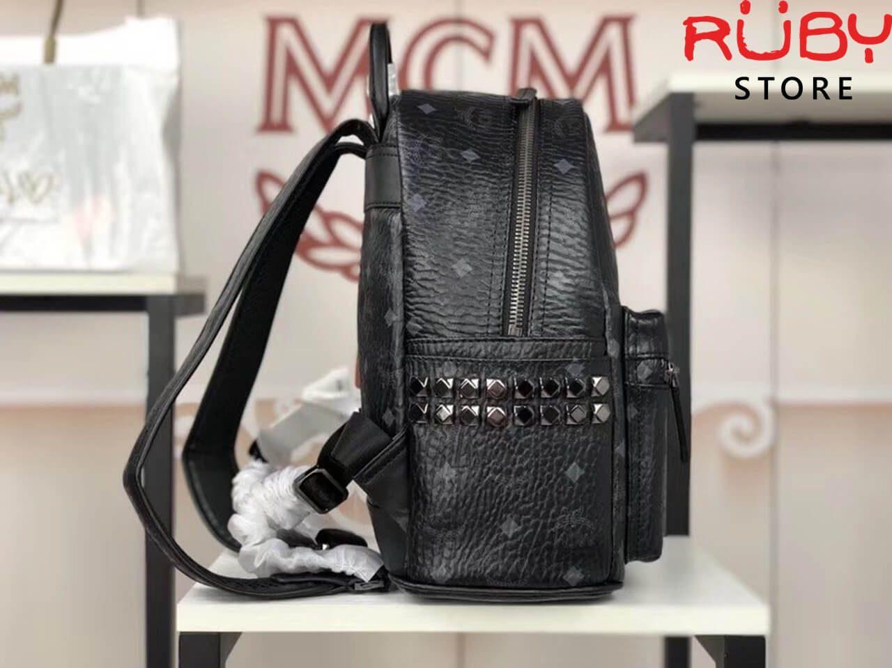 ba lô mcm stark side studs backpack in visetos black ở hcm
