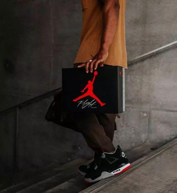 """Giày Nike Air Jordan 4 Retro """"Bred"""" Đen Đỏ"""