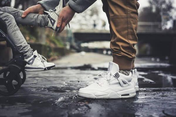 "Giày Air Jordan 4 Retro ""Pure Money"" Trắng Full"