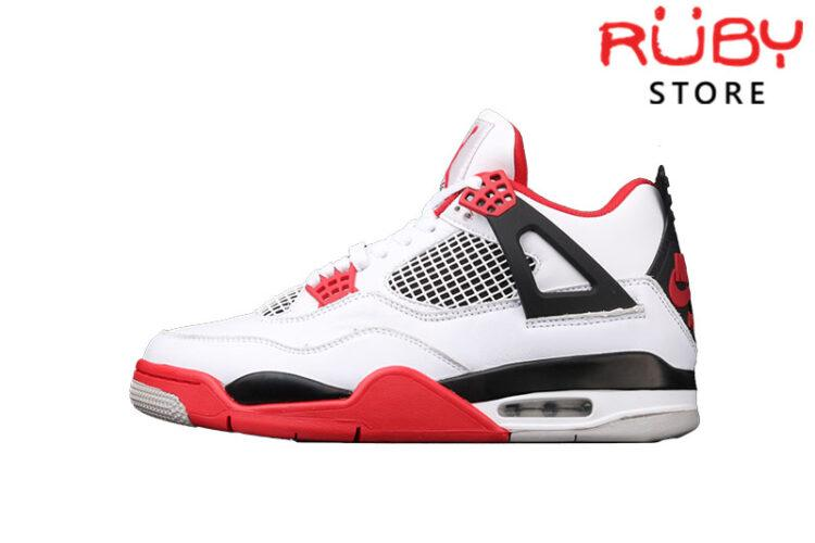 Giày Air Jordan 4 Retro Fire Red Trắng Đỏ