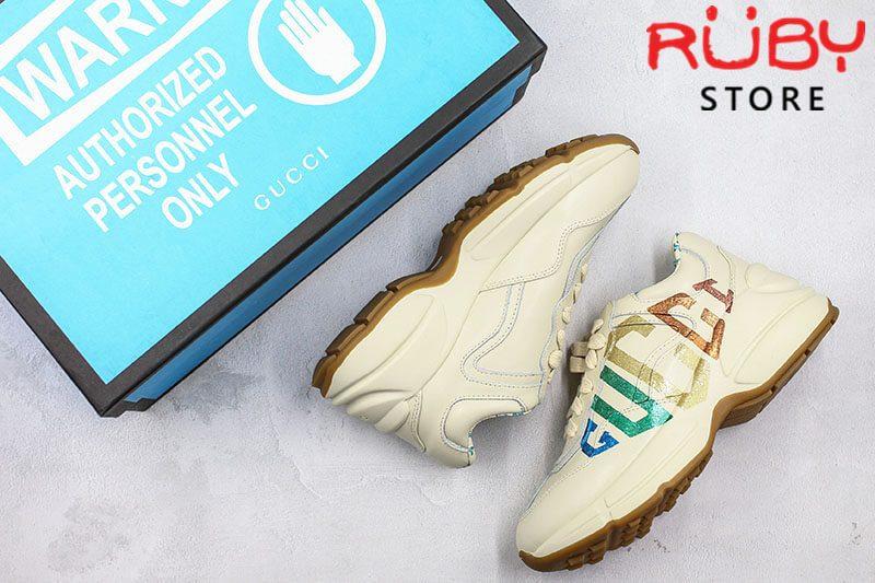Giày Gucci Rhyton Glitter Gucci Leather Sneaker