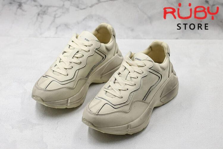 Giày Gucci Rhyton leather sneaker trơn