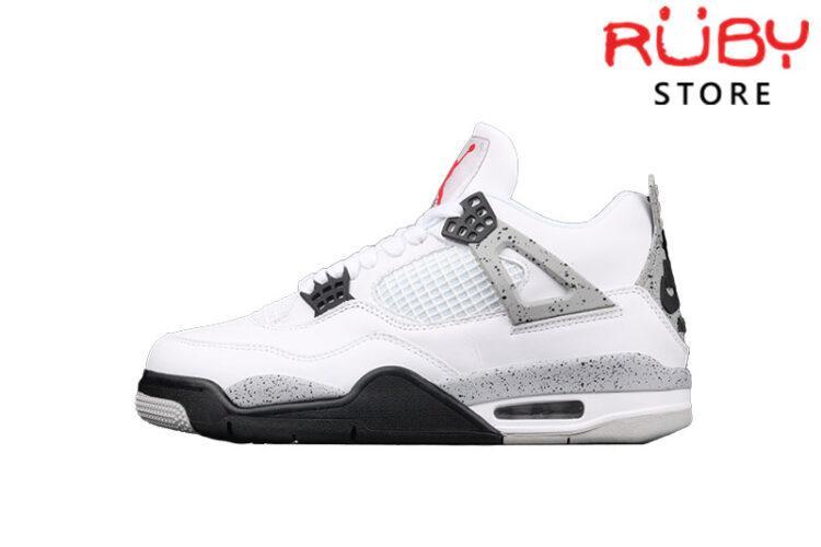 Giày Air Jordan 4 Retro White Cement Trắng Xám