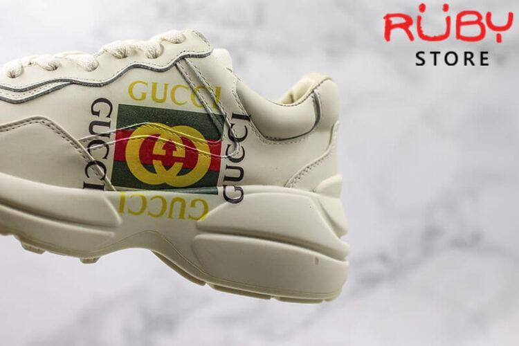 Giày Rhyton Gucci logo leather sneaker