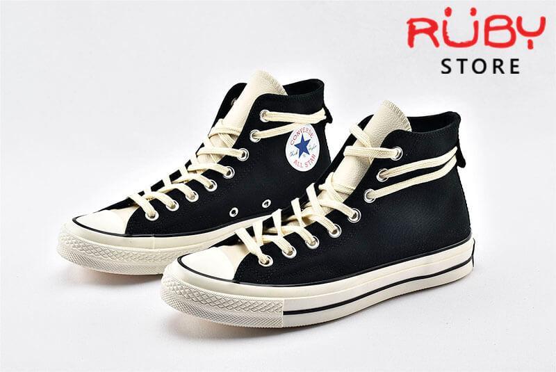 đôi giày Converse x Fear of God Essentials màu đen nhìn bên trái