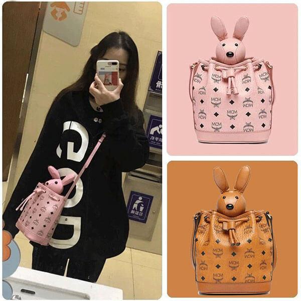 Balo MCM Zoo Rabbit Drawstring in Visetos hình thỏ