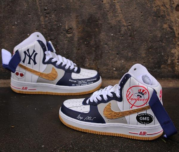 "Custom painted Nike Air Force 1 High ""NY Yankees"""