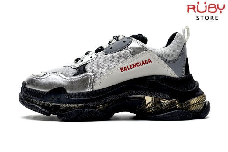 Giày Balenciaga Triple S Clear Sole đen bạc cao cấp
