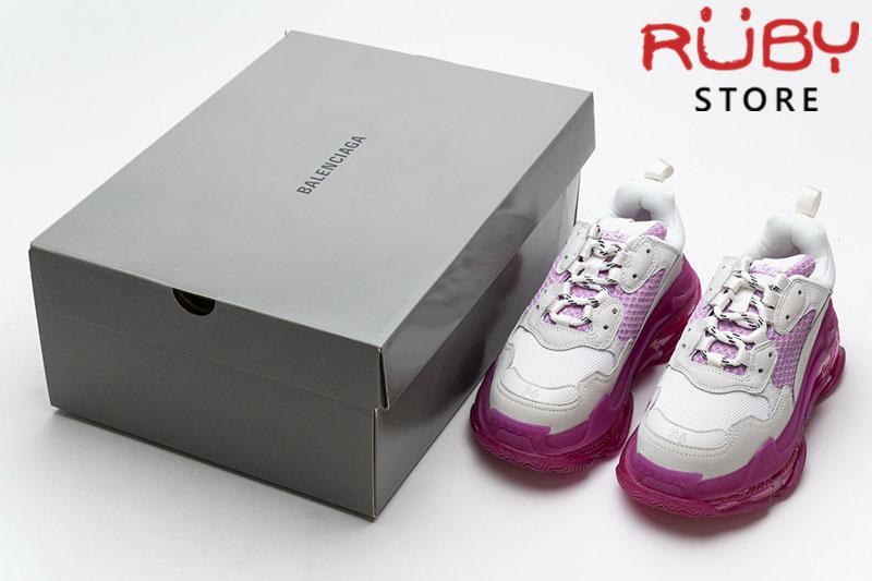 Giày Balenciaga Triple S Clear Sole trắng hồng cao cấp