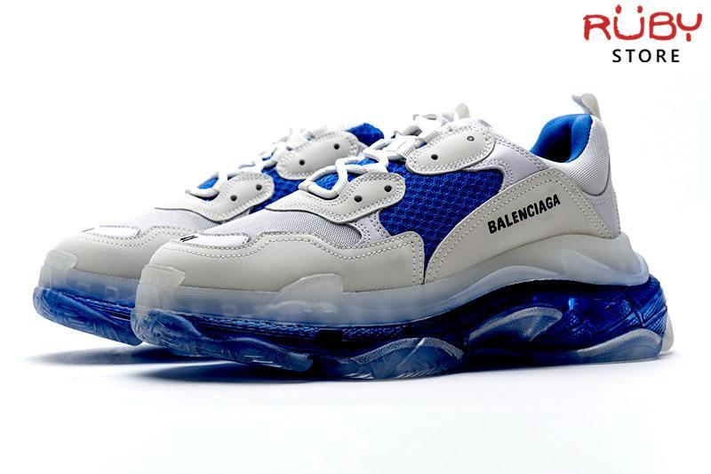 Giày Balenciaga Triple S Clear Sole trắng xanh cao cấp