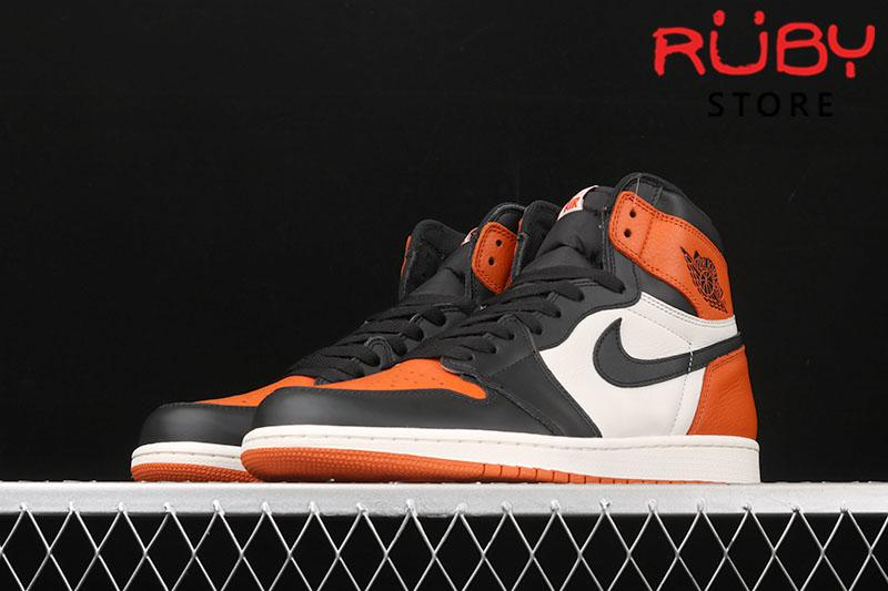 Giày Jordan 1 High Shattered Backboard trắng cam rep 1:1