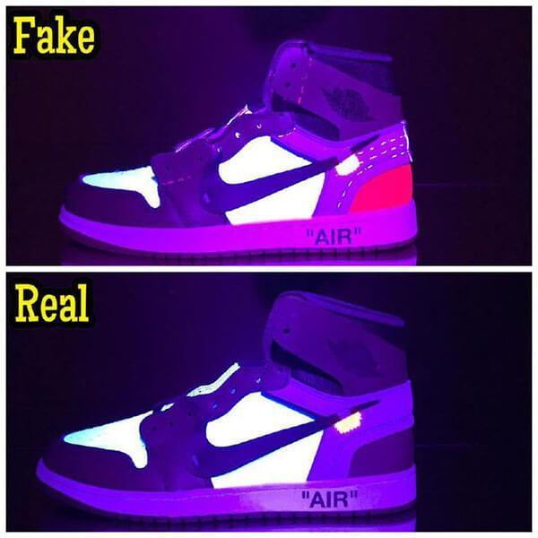 Cách check real và fake qua ánh sáng đèn cực tím toàn bộ giày Jordan Off White