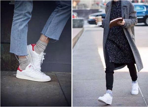 Tất xám + giày trắng