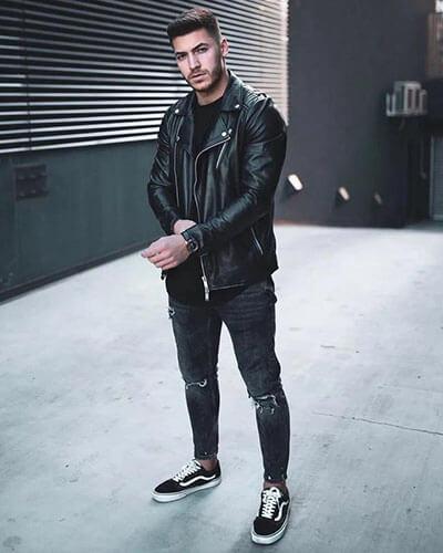 Vans + quần jean đen