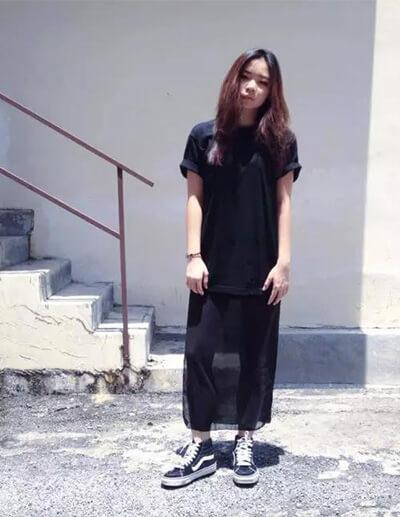Phối đồ với giày Vans Sk8-Hi nữ