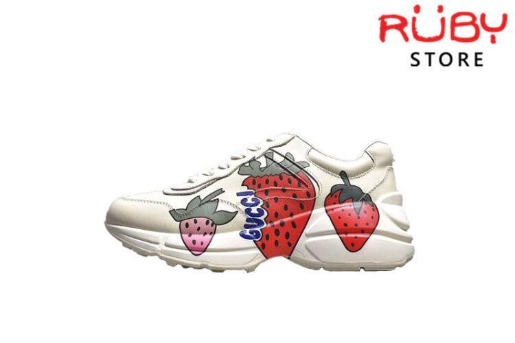 Giày Gucci Rhyton Sneaker With Gucci Strawberry Replica 1:1 (Cao Cấp) 2019