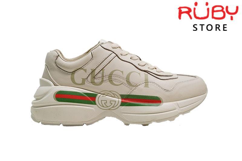Giày Gucci Rhyton Logo Leather Sneaker Replica 1:1 Cao Cấp