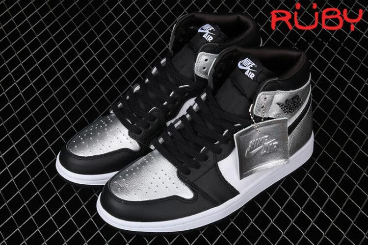 Giày Jordan 1 High Silver Toe Đen Bạc