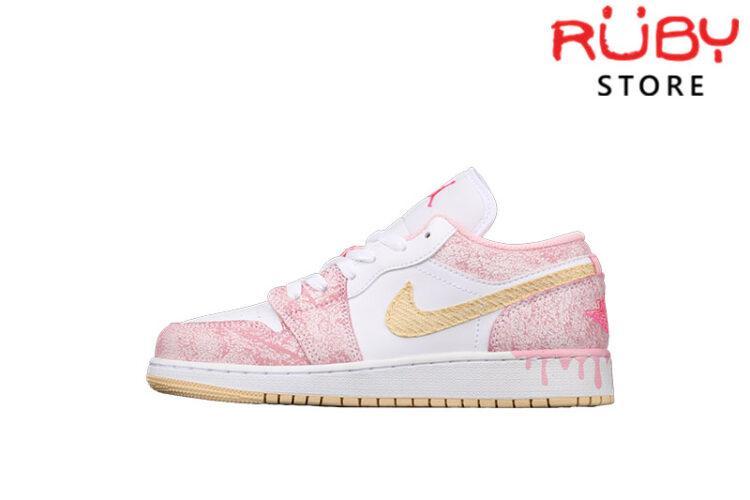 Giày Air Jordan 1 Low Paint Drip Hồng Kem Chảy