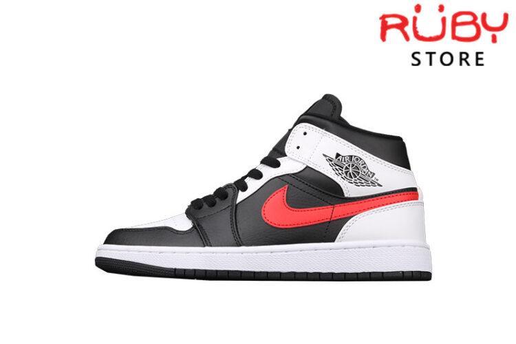Giày Jordan 1 Mid Black Chile Red White Trắng Đen Đỏ