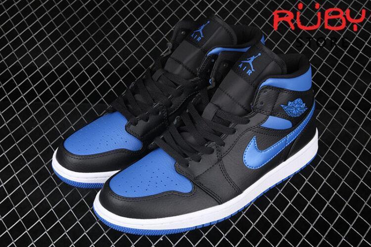 Giày Jordan 1 Mid Hyper Royal Xanh Đen