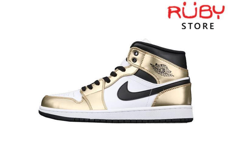 Giày Jordan 1 Mid Metallic Gold Black White Vàng Bóng