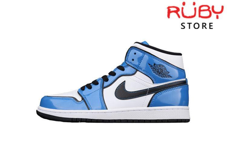 Giày Jordan 1 Mid Signal Blue Xanh Bóng