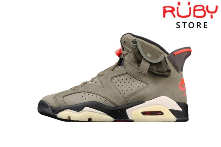 Giày Jordan 6 Retro Travis Scott Nâu