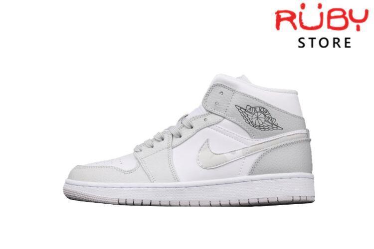 Giày Jordan 1 Mid White Camo Trắng Xám