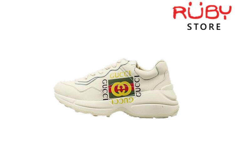 Giày Gucci Rhyton logo leather sneaker