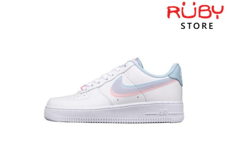 Giày Nike Air Force 1 Armory Blue Pink 2 Swoosh Xanh Hồng