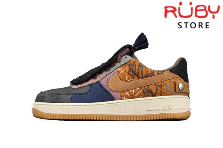 Giày Nike Air Force 1 Low Travis Scott Cactus Jack Nâu Đen
