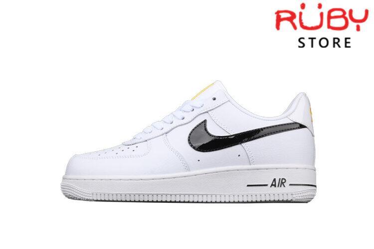 Giày Nike Air Force 1 Trắng Swoosh Đen Bóng